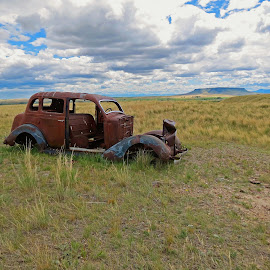 North of Fort Shaw by James Oviatt - Transportation Automobiles