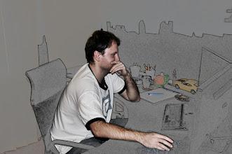 Photo: Michal Vašenka při počítačové rekonstrukci krematoria v Birkenau (září 2011).