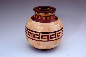 "Photo: Stan Sherman - Segmented Vessel - 7"" x 6"" - Maple, Bloodwood, Canarywood, Cocobolo and Holly"