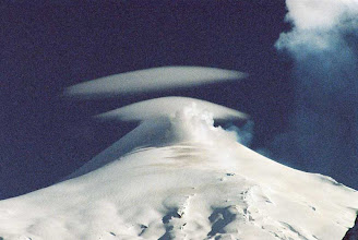 Photo: LENTICULAR  CLOUDS over Rucapillan volcan (Villarica), Pucon