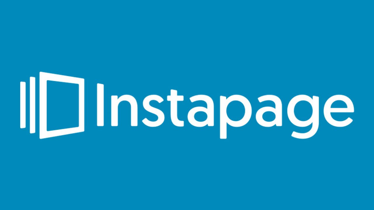 The InstaPage logo in light blue background is part of the Unbounce vs LeadPages vs InstaPage article