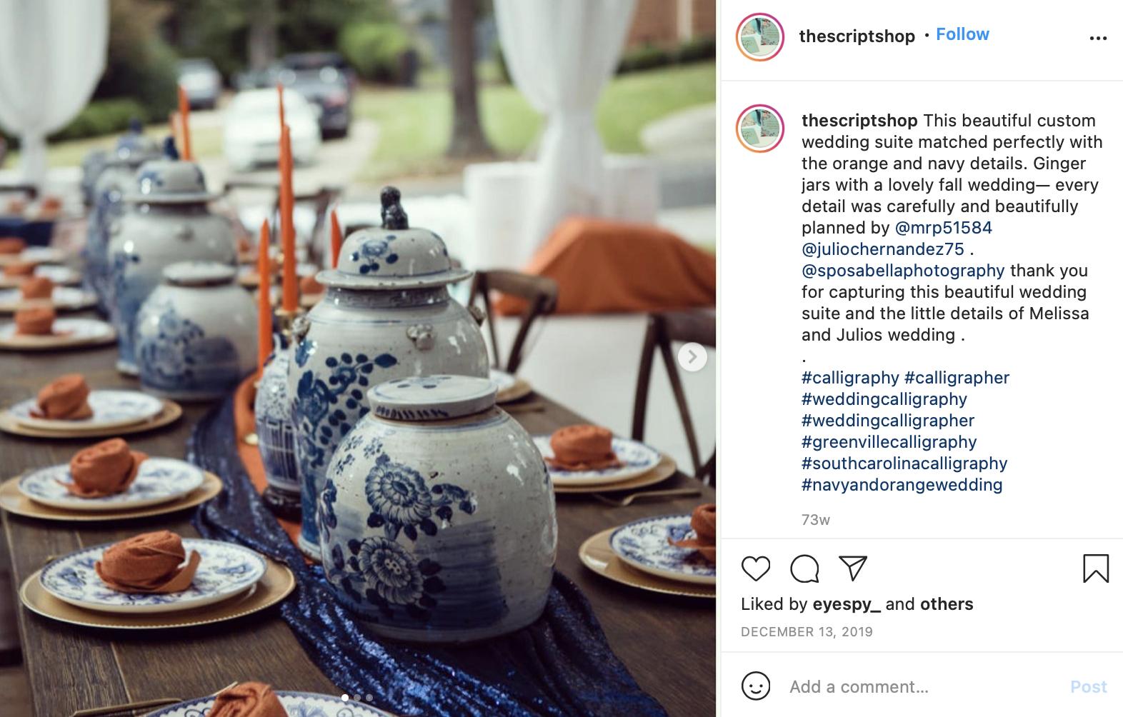 navy blue and tangerine wedding detail shot