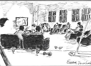 Photo: 休息室2010.12.26鋼筆 上班和外界是隔絕的,於是傍晚的休息時間,就成了同仁們看新聞了解一天大事的時間了,而我則是在畫面上的視角,在跑步機上重覆著單調的運動…