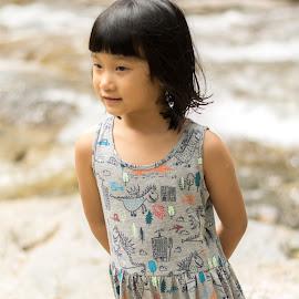 Kid at waterfall by Loh Jiann - Babies & Children Child Portraits ( natural, waterfall, portrait, child, smile )