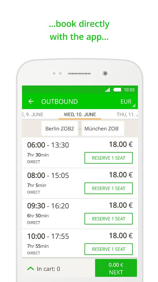 FlixBus bus app- screenshot