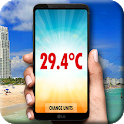 Thermometer with ambient temperature icon