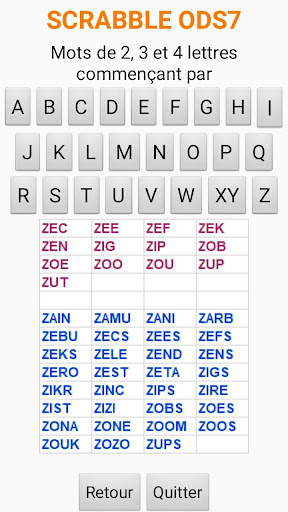 Download Mots scrabble 2-3-4 lettres on PC & Mac with