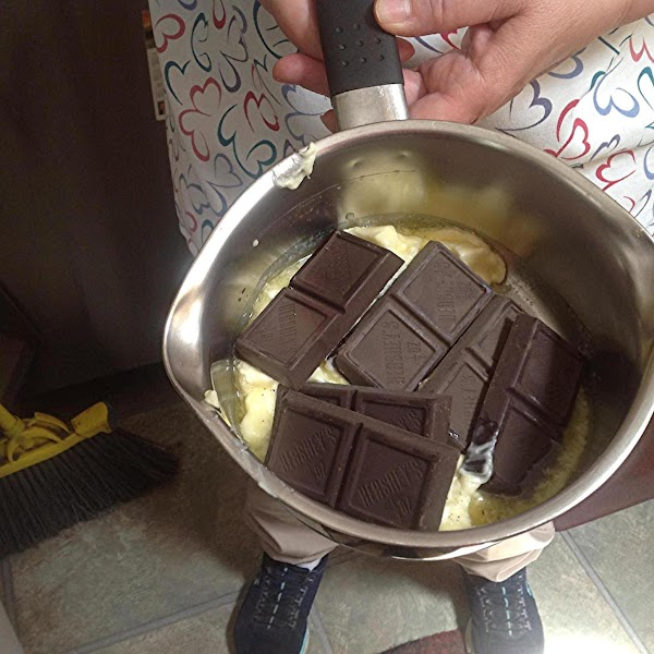 Melt the butter and chocolate in top of a double boiler or sauce pan....