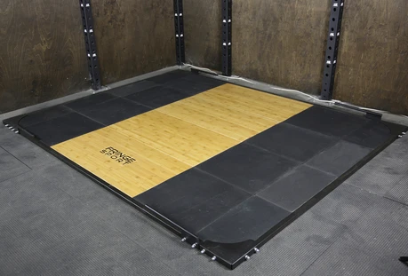 Fringe Sport Weightlifting Deadlift Platform  is made of bamboo and not oak which is more durable and slip-resistant