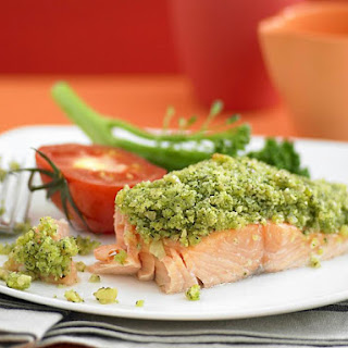 Pesto Crusted Salmon with Roasted Tomatoes and Broccoli