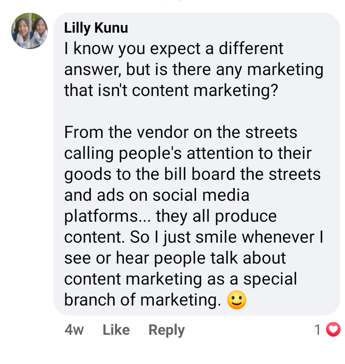 a facebook screen shot of a comment about content marketing.