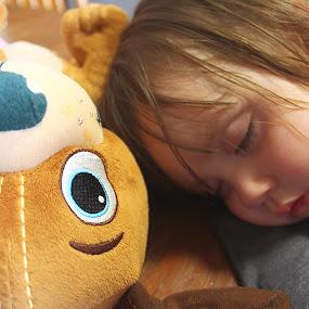 Our Granddaughter Piper by H Scott Burd - Babies & Children Toddlers ( asleep stuffed animal cute )