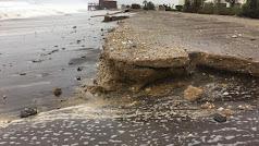 Efectos de la borrasca Filomena sobre las costas de la zona naturista de Vera.