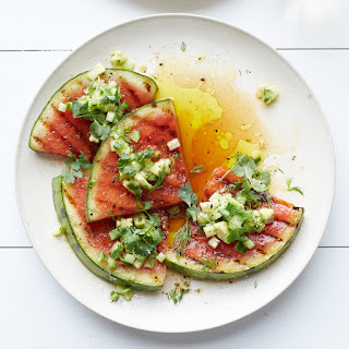 Grilled Watermelon with Avocado, Cucumber and Jalapeño Salsa