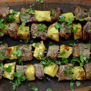 Grilled Thai Beef and Pineapple Kabobs.