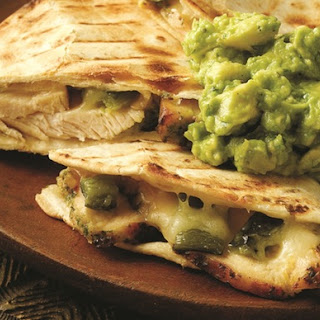 Chicken and Poblano Quesadillas with Guacamole Recipe