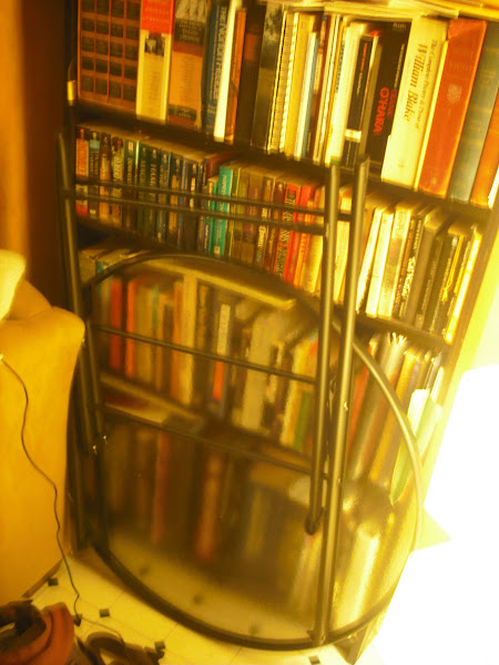 Photo: Patio table came in yesterday & parked itself in front of the bookshelf