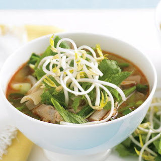 Asian Chicken Soup with Fresh Vegetables and Herbs.