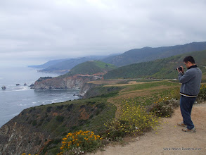 Photo: Tourist and flowers, Big Sur