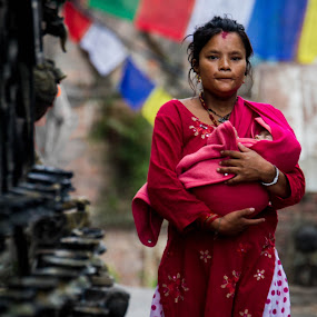 Morning Prayer by Chris Wangard - People Street & Candids ( buddhist temple, mother and child, nepal, travel )