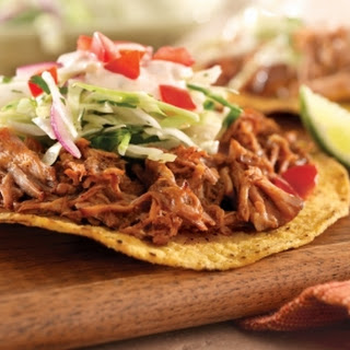 Chicken in Dark Mole Sauce on Tostadas