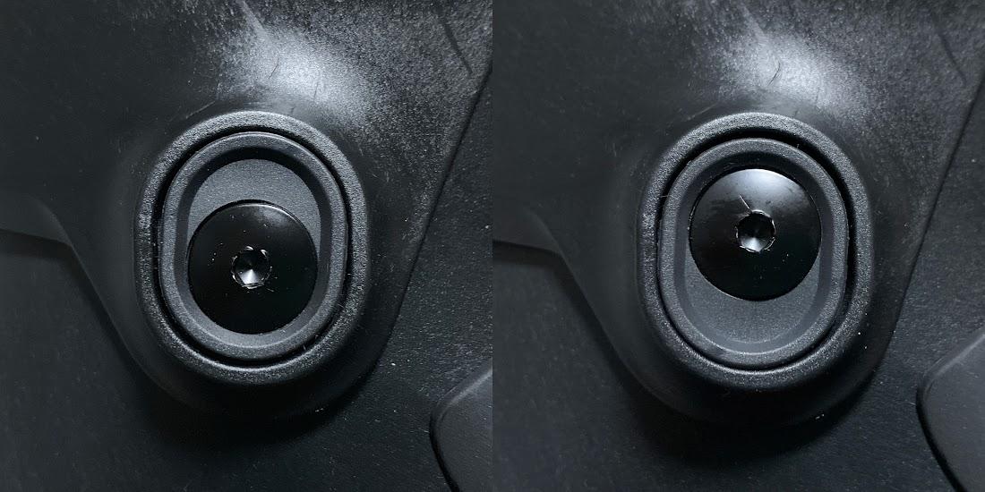 写真3 左:カフの高さ調整パーツでカフを下げた状態 右:カフを上げた状態
