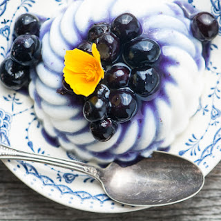 Coconut Panna Cotta with Blueberry Sauce