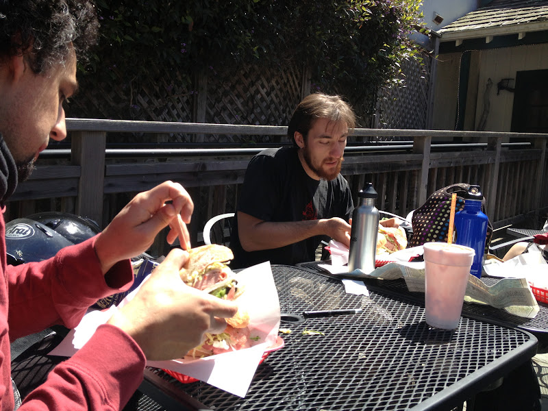 Photo: Lunch! After missing a stop and ending up south of San Simeon, we pulled over for a much-needed bite.