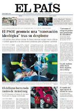 """Photo: El PSOE promete una """"renovación ideológica"""" tras su desplome, el ciclismo borra todo rastro de Armstrong y 42 premios Nobel alertan del desastre de recortar en I+D: """"Corremos el riesgo de perder una generación de científicos"""", en nuestra portada del martes 23 de octubre http://srv00.epimg.net/pdf/elpais/1aPagina/2012/10/ep-20121023.pdf"""