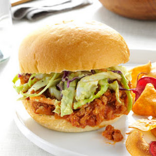 Turkey Sloppy Joes with Avocado Slaw.