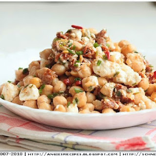 Chickpea Salad with Feta and Sundried Tomatoes.