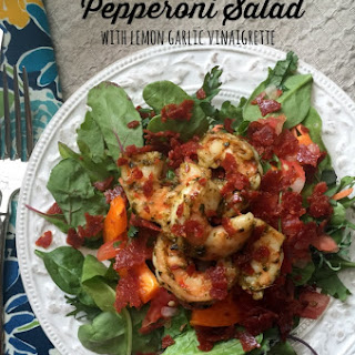 Pesto Shrimp and Pepperoni Salad with Lemon Garlic Vinaigrette