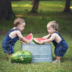 Times Two by Jeannie Meyer - Babies & Children Child Portraits ( canon, cuteness overload, cuteness, red, southern, blue, bucket, tub, watermelon, overalls, twins, twin boys )