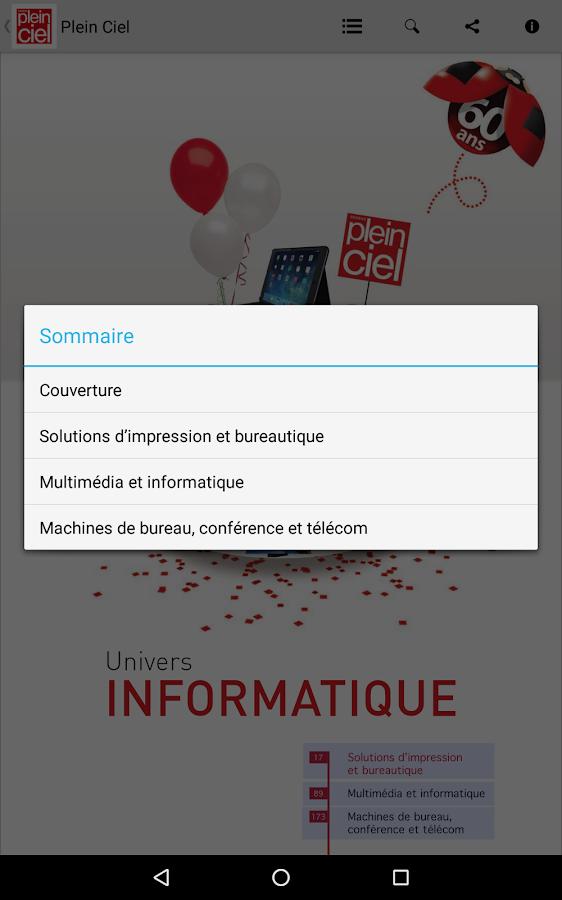 Plein ciel catalogue 2016 applications android sur for Bureau plus catalogue 2016