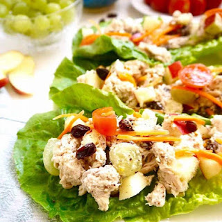 Rotisserie Chicken Salad Wraps with Apples, Raisins and Grapes { Paleo, Whole30}.