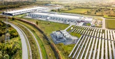 Um campo de energia solar de data center do Google