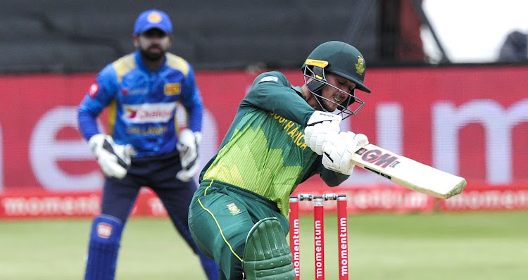 Quinton de Kock of South Africa hits the ball hard during the third One Day International Series game between the Proteas and Sri Lanka at Kingsmead Cricket Ground in Durban on March 10 2019.