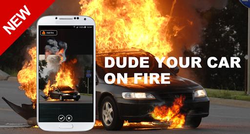 火にあなたの車を男