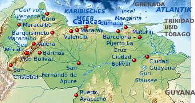 Geografische Karte Venezuelas.