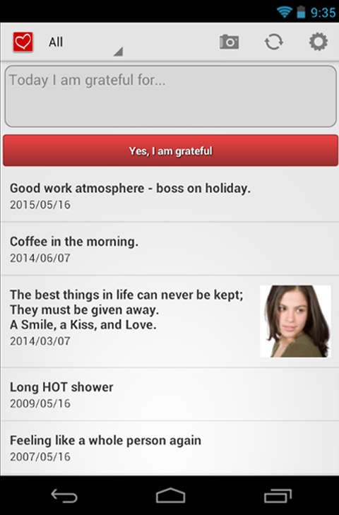 Attitudes of Gratitude Journal - screenshot