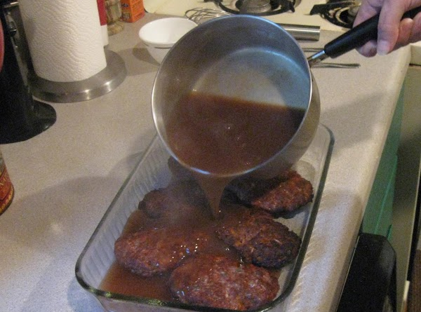 Let boil for a minute to thinken a little then pour over steaks. Reduce...