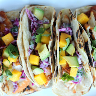 Grilled Chili-Lime Fish Tacos with Sour Cream Cabbage Slaw + Mango & Avocado Recipe