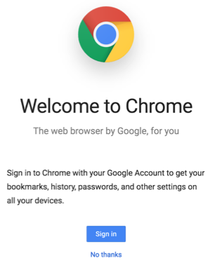 Welcome to Chrome sign in page