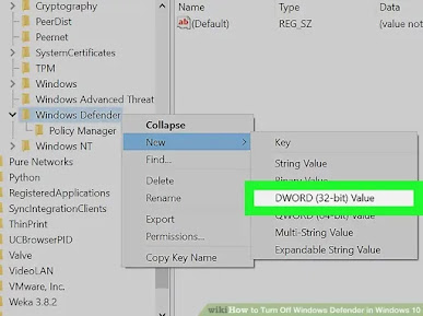 Create DisableAntiSpyware DWORD