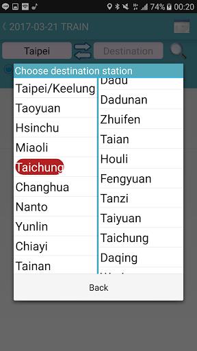 Capturas de pantalla de Taiwan Railway Timetable 4