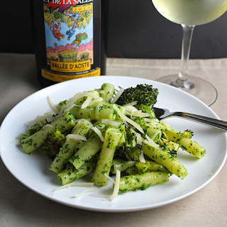 Ziti with Kale Pesto and Roasted Broccoli