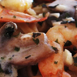 Shrimp and Mushroom Linguini with Creamy Cheese Herb Sauce.