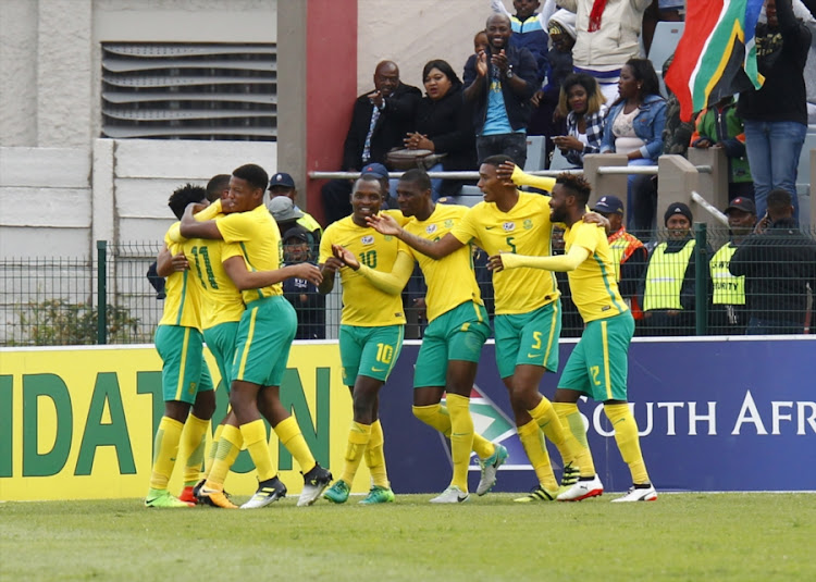 Bafana Bafana enjoy celebrations during the 1st Leg 3rd Round CHAN Qualifier between South Africa and Zambia at Buffalo City Stadium on August 12, 2017 in East London, South Africa.