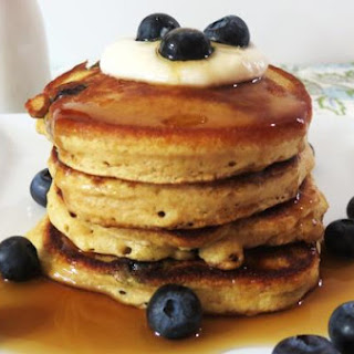 Healthy Blueberry Lemon Pancakes.
