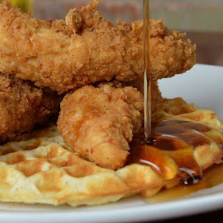 Chicken And Waffles With Beer Glazed Onions